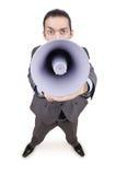 Homem que shouting com altifalante Imagem de Stock Royalty Free