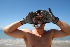 Homem que snorkeling Fotos de Stock Royalty Free