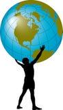 Homem que suporta o globo ilustração do vetor