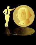 Homem que suporta uma moeda Fotografia de Stock Royalty Free