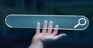 Homem que surfa no Internet usando o renderi tátil da barra 3D do endereço da Web Imagem de Stock