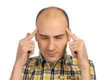 Homem que tem a dor de cabeça Fotos de Stock