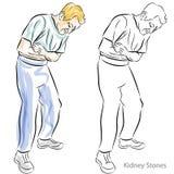 Homem que tem dores de estômago Imagem de Stock Royalty Free