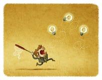 Homem que tenta travar bulbos do voo ilustração royalty free