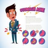 Homem que toca em sua barriga conceito da dor da dor de estômago infographic com a emoção ajustada - ilustração do vetor Imagem de Stock