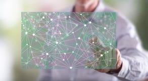 Homem que toca em uma ilustração da inteligência artificial fotos de stock royalty free