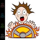 Homem que toca em uma roda de direcção quente Fotografia de Stock