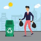 Homem que toma o lixo, lixo para fora em umas reciclagens ilustração stock