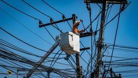 Homem que trabalha com polo da linha elétrica Imagem de Stock