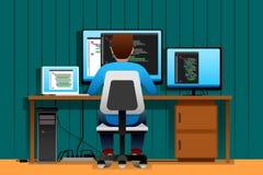 Homem que trabalha na frente de seu computador Fotos de Stock Royalty Free