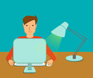 Homem que trabalha no computador de secretária Ilustração Royalty Free
