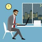 Homem que trabalha no computador portátil Homem de negócios com ideia da finança ilustração royalty free