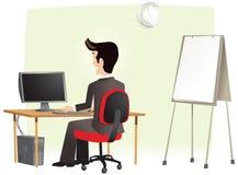 Homem que trabalha no escritório no computador ilustração stock
