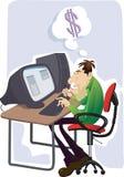 Homem que trabalha no portátil ilustração stock