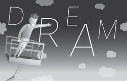 Homem que trava um sonho do flyng Fotos de Stock