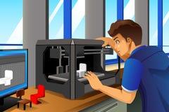 Homem que usa uma impressora 3D Fotos de Stock