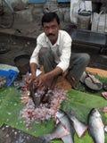 Homem que vende peixes em um mercado de rua Foto de Stock