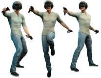 Homem que veste a ilustração do capacete 3D da realidade virtual Fotografia de Stock Royalty Free