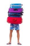 Homem que viaja com as malas de viagem isoladas Fotos de Stock Royalty Free