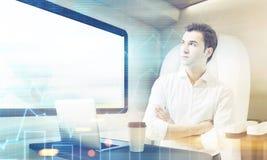 Homem que viaja no compartimento do trem com gráficos Imagem de Stock Royalty Free