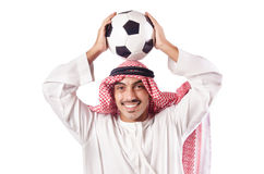Homem árabe com futebol Imagens de Stock Royalty Free