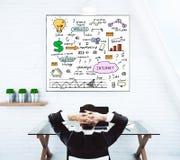 Homem relaxado que olha o esboço do negócio Foto de Stock