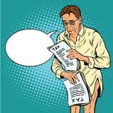 Homem retro devastado por impostos ilustração stock