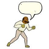 homem retro do pugilista dos desenhos animados com bolha do discurso Imagens de Stock