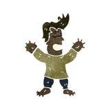 homem retro dos desenhos animados com mãos inchadas e pés Imagens de Stock Royalty Free