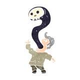 homem retro dos desenhos animados possuído pelo fantasma Foto de Stock Royalty Free