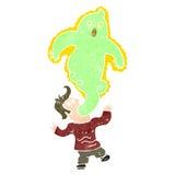 homem retro dos desenhos animados possuído pelo fantasma Fotos de Stock