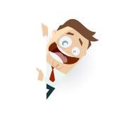 Homem retro dos desenhos animados que aponta com seu dedo no copyspace Fotos de Stock