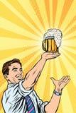 Homem retro e caneca de cerveja ilustração stock