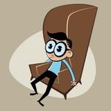 Homem retro pensativo dos desenhos animados Imagens de Stock Royalty Free