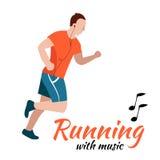 Homem running com fones de ouvido Fotos de Stock