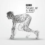 Homem running, composição divergente da partícula ilustração do vetor