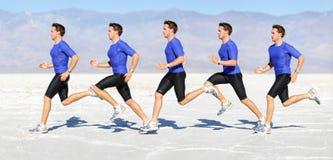 Homem running - corredor no composto do movimento da velocidade Fotos de Stock Royalty Free