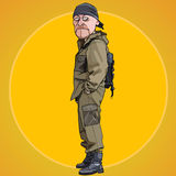 Homem sério dos desenhos animados em um terno protetor com uma trouxa Imagem de Stock