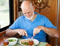 Homem sênior do rv - comer saudável Imagem de Stock Royalty Free