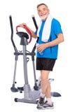 Homem sênior que exercita em deslizante Foto de Stock Royalty Free