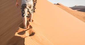 Homem só que anda na crista da areia na duna 45 no deserto de Sossusvlei Fotografia de Stock Royalty Free