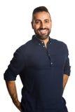 Homem satisfeito na camisa azul imagem de stock royalty free