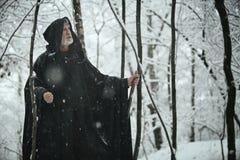 Homem sábio idoso na floresta escura Imagem de Stock Royalty Free