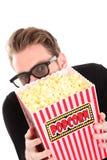Homem Scared em 3D-glasses Fotografia de Stock