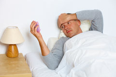 Homem sem sono Fotos de Stock Royalty Free