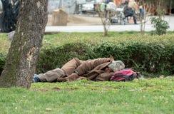 Homem semi-nua desabrigado que dorme no parque Imagem de Stock Royalty Free