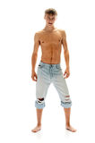 Homem sexual nas calças de brim Fotos de Stock Royalty Free