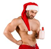 Homem 'sexy' do Natal que levanta na câmera isolada em um fundo branco Fotos de Stock Royalty Free