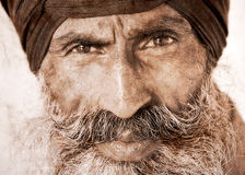 Homem sikh em Amritsar, Índia. Arte finala no estilo retro. Fotografia de Stock Royalty Free