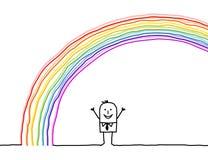 Homem sob o arco-íris Imagem de Stock